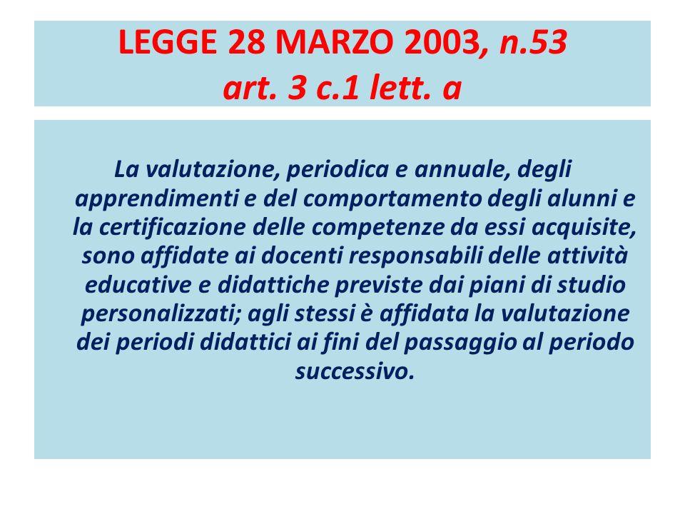 LEGGE 28 MARZO 2003, n.53 art. 3 c.1 lett. a