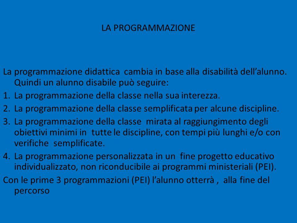 LA PROGRAMMAZIONE La programmazione didattica cambia in base alla disabilità dell'alunno. Quindi un alunno disabile può seguire: