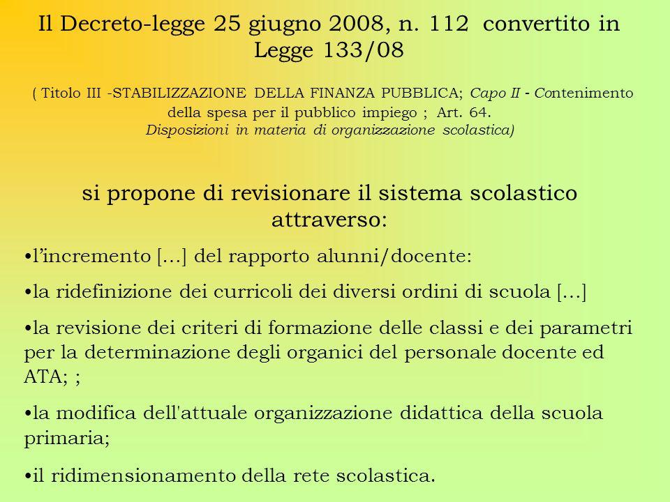 Il Decreto-legge 25 giugno 2008, n. 112 convertito in Legge 133/08