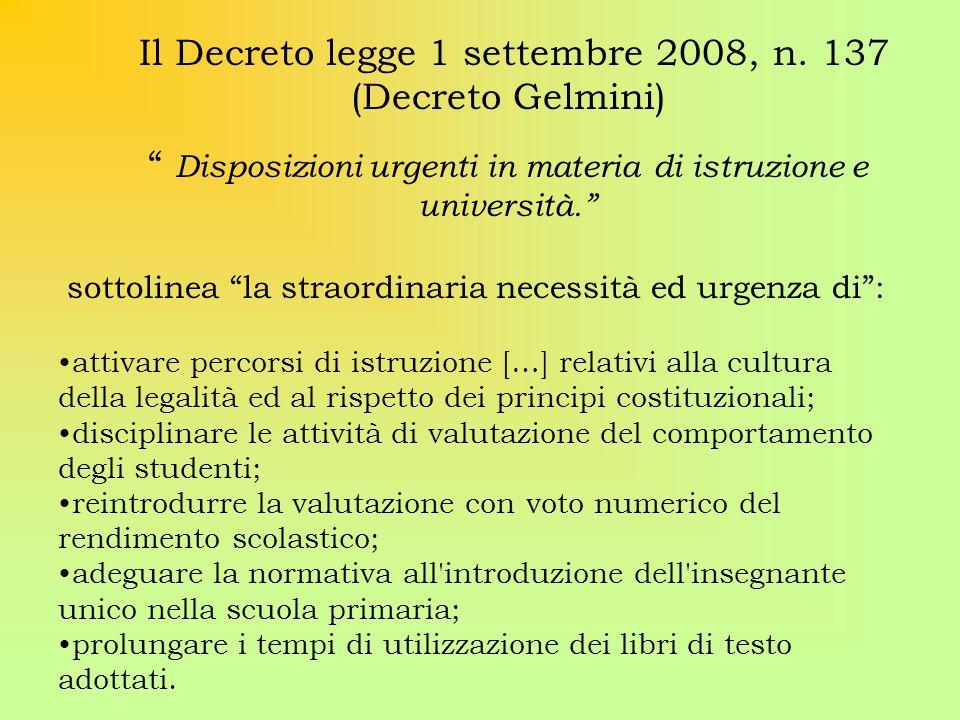 Il Decreto legge 1 settembre 2008, n. 137 (Decreto Gelmini)