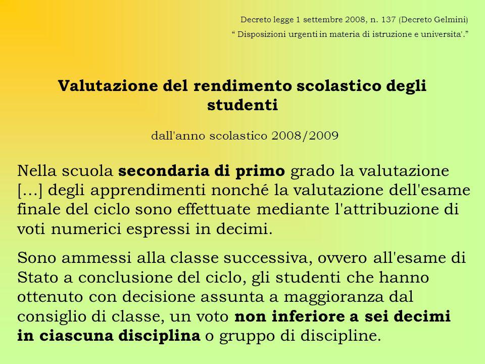 Valutazione del rendimento scolastico degli studenti