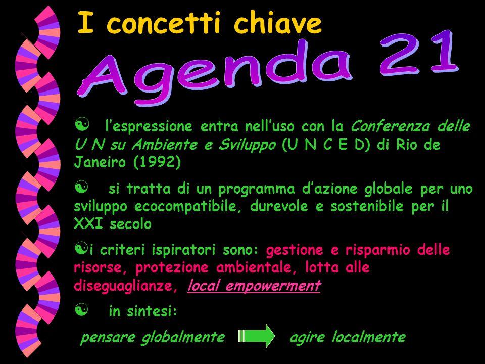 I concetti chiave Agenda 21. l'espressione entra nell'uso con la Conferenza delle U N su Ambiente e Sviluppo (U N C E D) di Rio de Janeiro (1992)