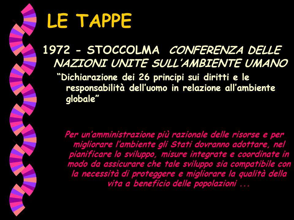 LE TAPPE 1972 - STOCCOLMA CONFERENZA DELLE NAZIONI UNITE SULL'AMBIENTE UMANO.