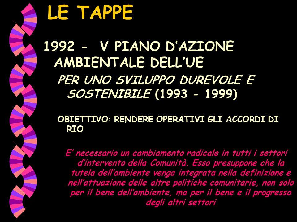 LE TAPPE 1992 - V PIANO D'AZIONE AMBIENTALE DELL'UE