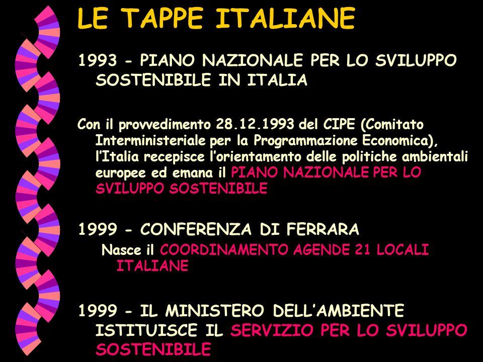 LE TAPPE ITALIANE 1993 - PIANO NAZIONALE PER LO SVILUPPO SOSTENIBILE IN ITALIA.
