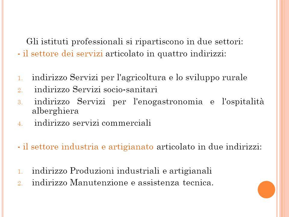 - il settore dei servizi articolato in quattro indirizzi: