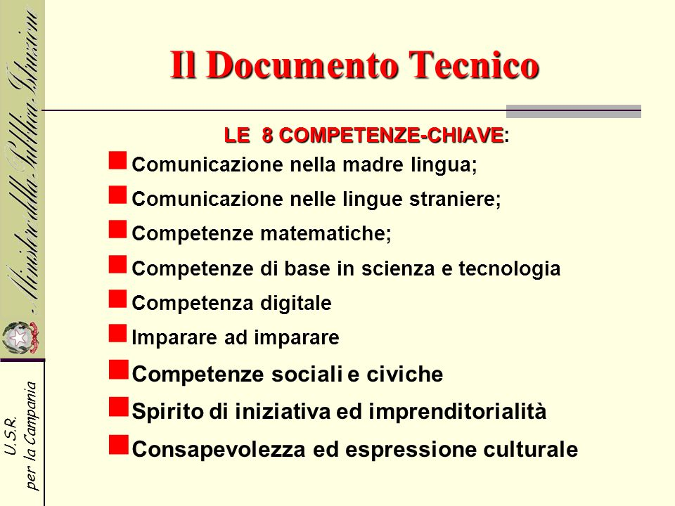 LE 8 COMPETENZE-CHIAVE: