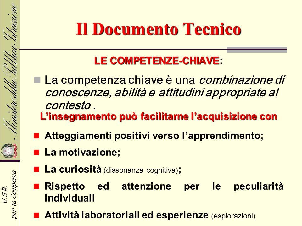 Il Documento Tecnico LE COMPETENZE-CHIAVE: La competenza chiave è una combinazione di conoscenze, abilità e attitudini appropriate al contesto .