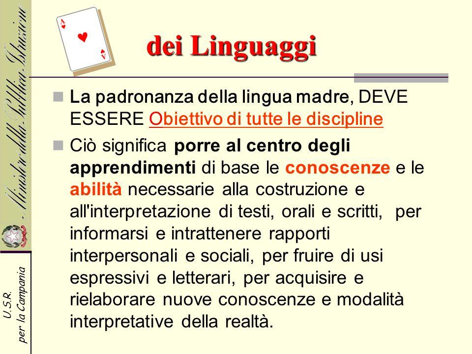 dei Linguaggi La padronanza della lingua madre, DEVE ESSERE Obiettivo di tutte le discipline.