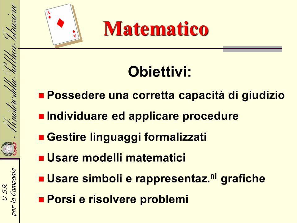Matematico Obiettivi: Possedere una corretta capacità di giudizio