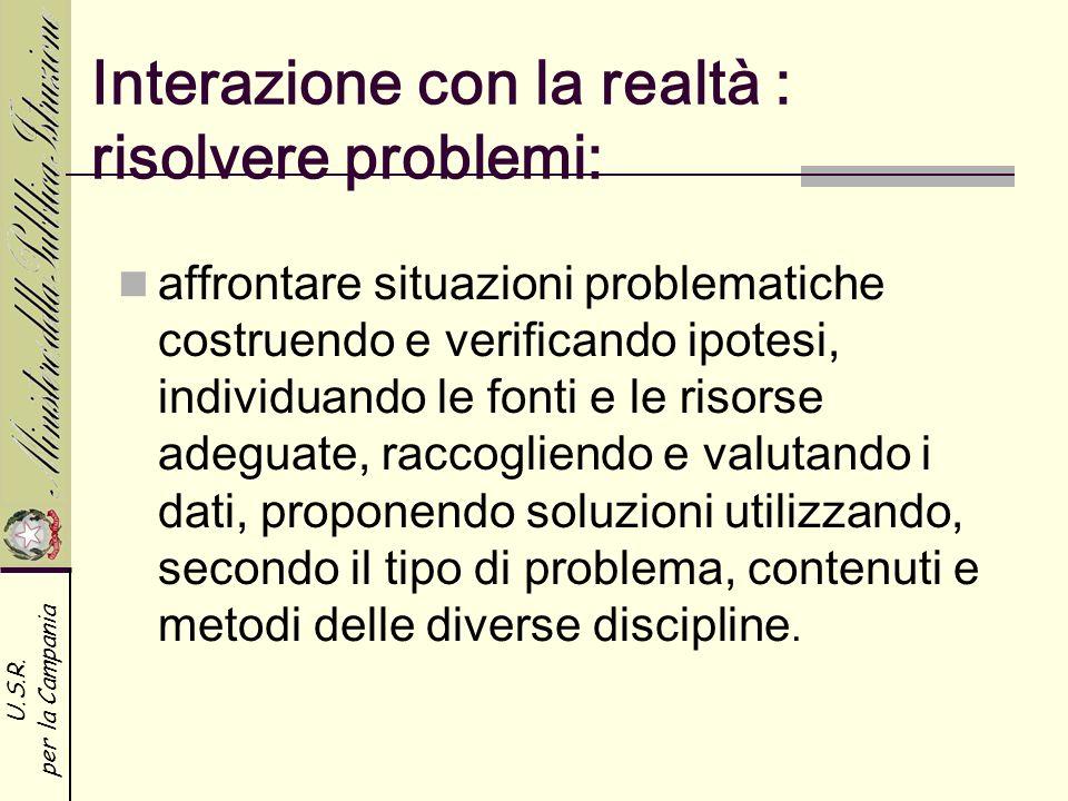 Interazione con la realtà : risolvere problemi: