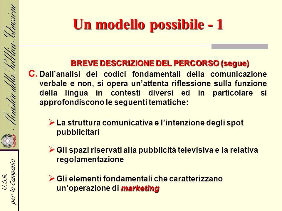 Un modello possibile - 1 BREVE DESCRIZIONE DEL PERCORSO (segue)