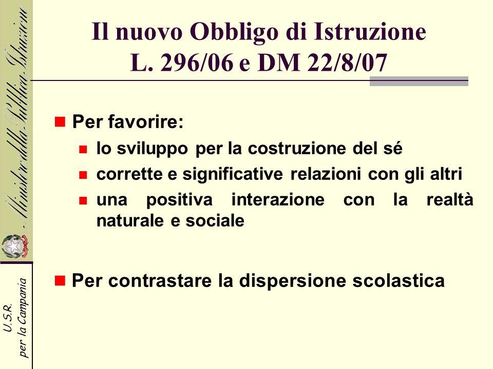 Il nuovo Obbligo di Istruzione L. 296/06 e DM 22/8/07