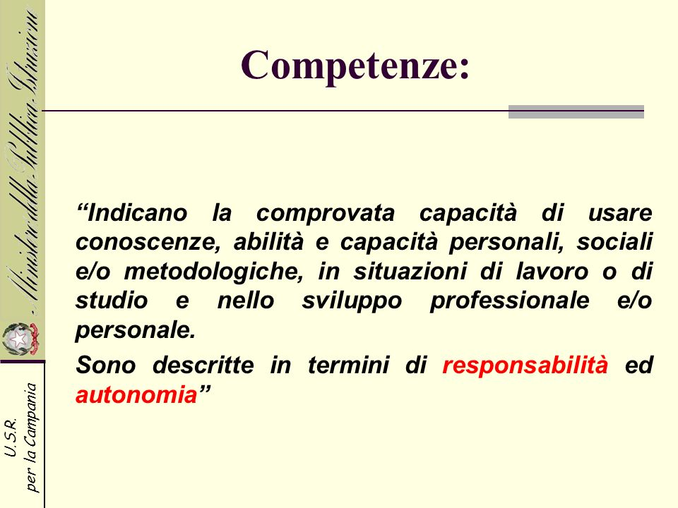 Competenze: