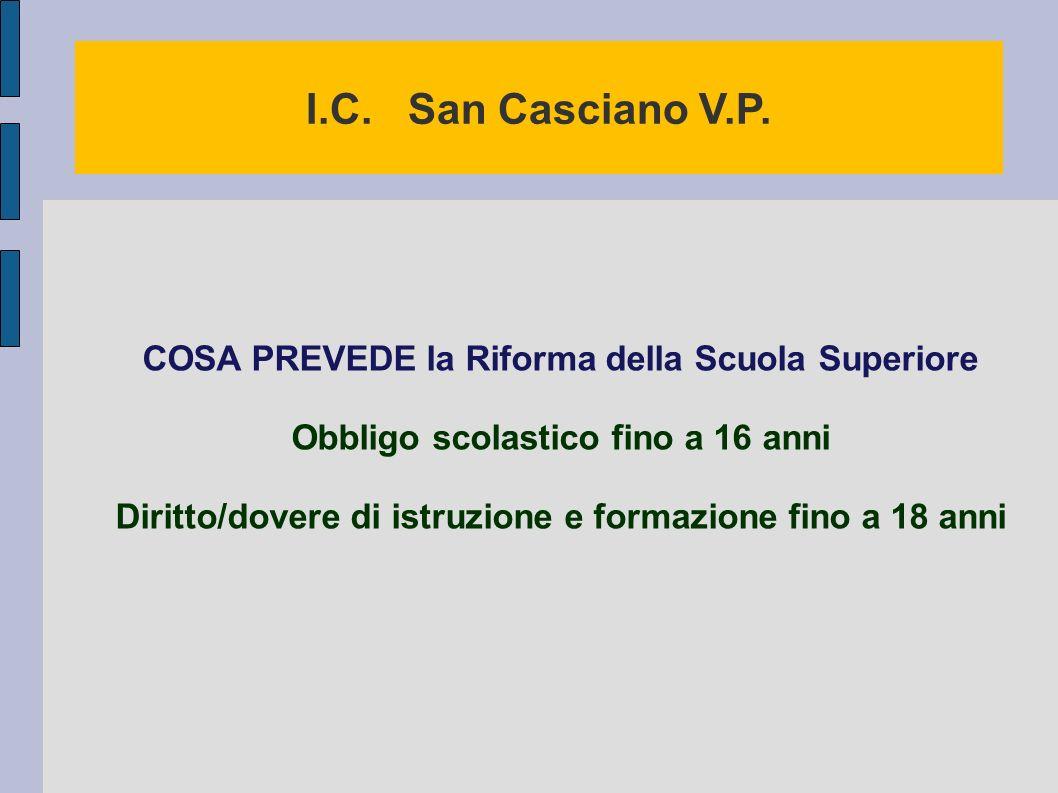 I.C. San Casciano V.P. COSA PREVEDE la Riforma della Scuola Superiore