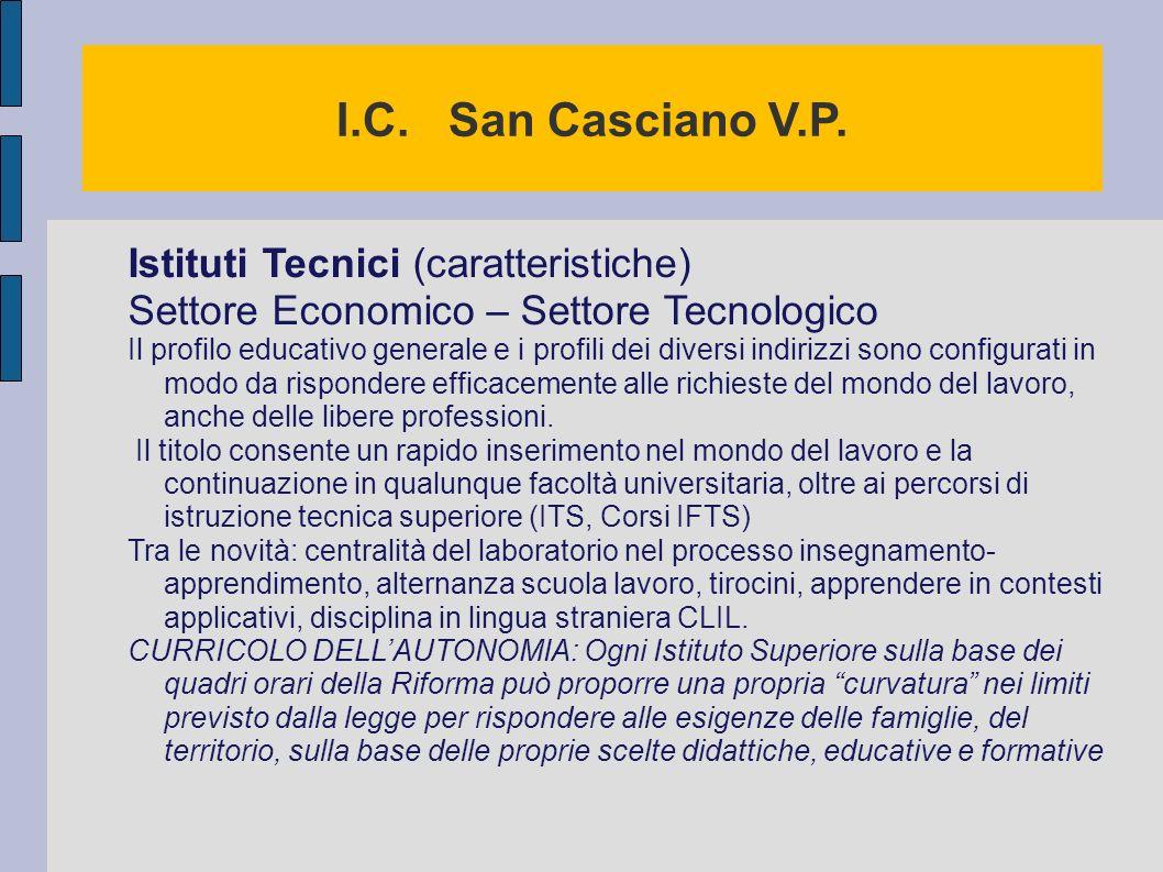 I.C. San Casciano V.P. Istituti Tecnici (caratteristiche)