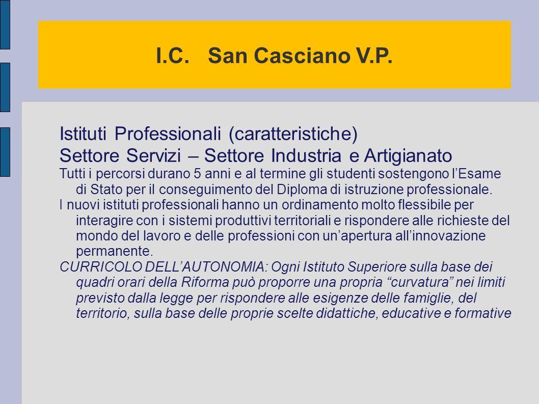 I.C. San Casciano V.P. Istituti Professionali (caratteristiche)