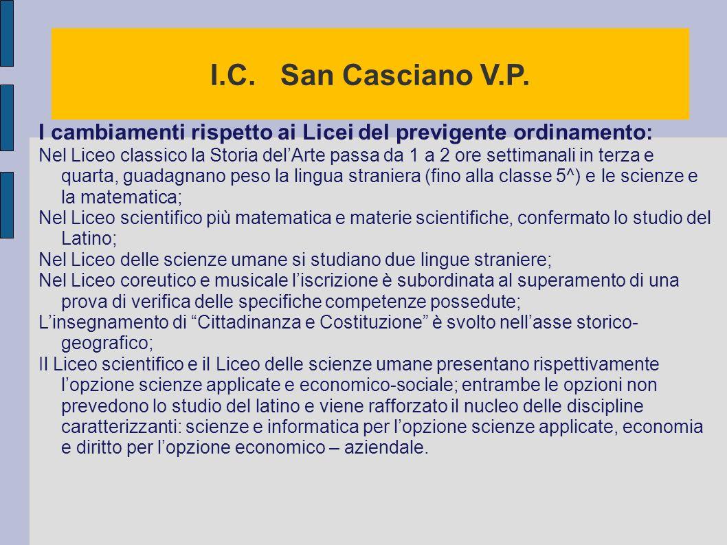 I.C. San Casciano V.P. I cambiamenti rispetto ai Licei del previgente ordinamento: