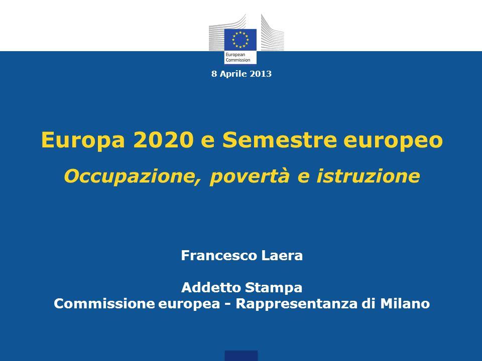8 Aprile 2013 Europa 2020 e Semestre europeo Occupazione, povertà e istruzione