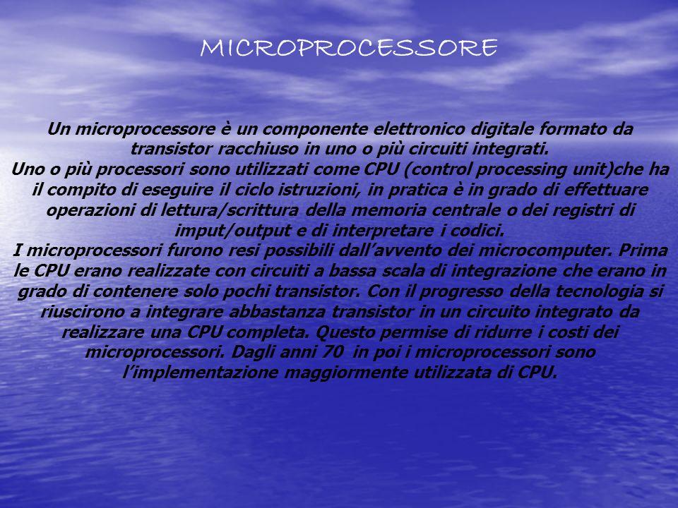 MICROPROCESSORE Un microprocessore è un componente elettronico digitale formato da transistor racchiuso in uno o più circuiti integrati.