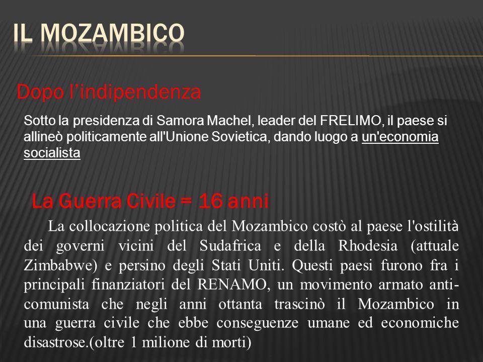 Il Mozambico Dopo l'indipendenza La Guerra Civile = 16 anni