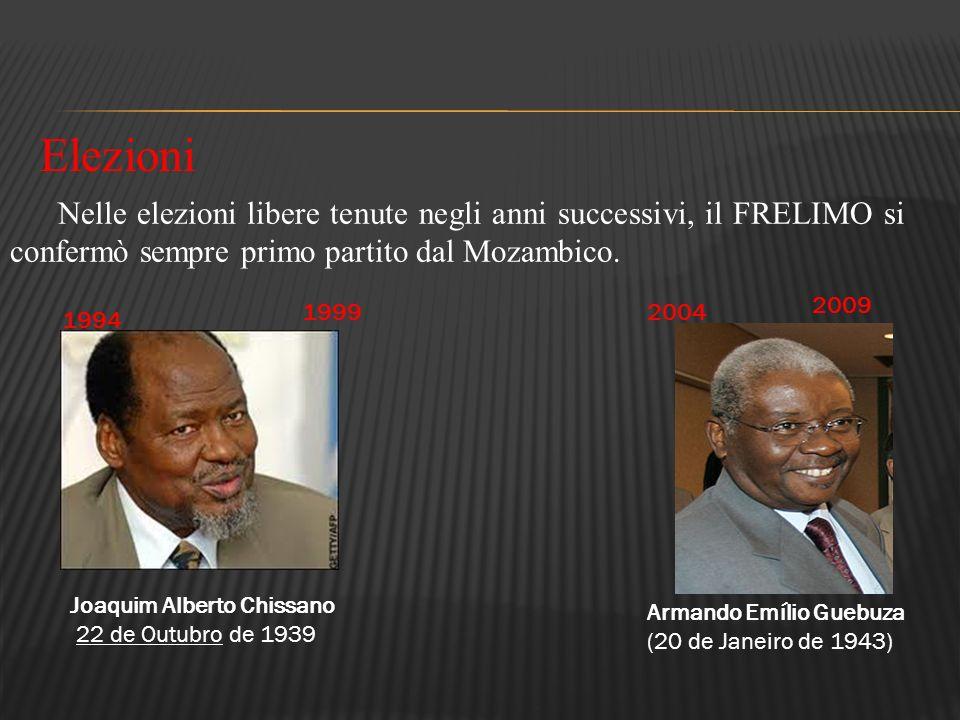 Elezioni Nelle elezioni libere tenute negli anni successivi, il FRELIMO si confermò sempre primo partito dal Mozambico.