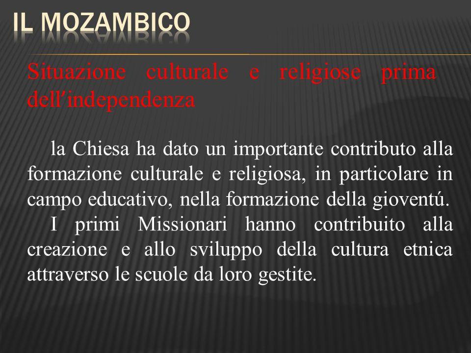 Il Mozambico Situazione culturale e religiose prima dell'independenza