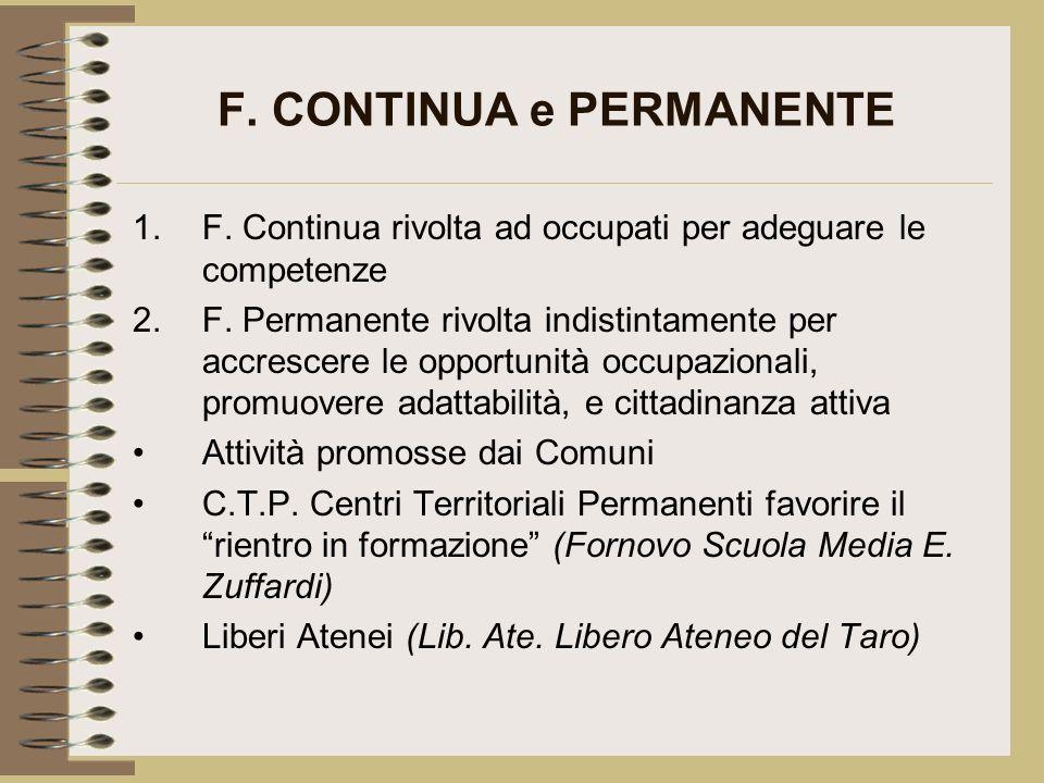 F. CONTINUA e PERMANENTE