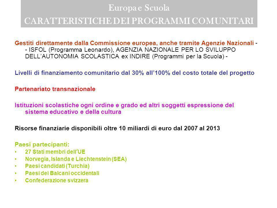 Europa e Scuola CARATTERISTICHE DEI PROGRAMMI COMUNITARI