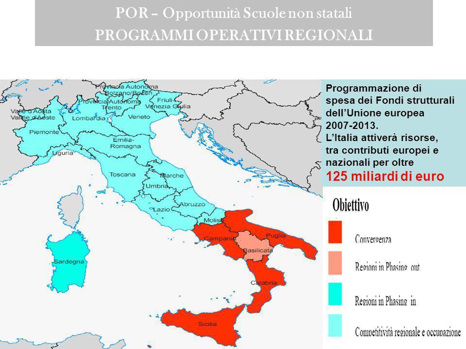 POR – Opportunità Scuole non statali PROGRAMMI OPERATIVI REGIONALI