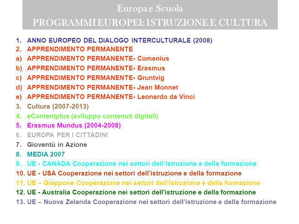 Europa e Scuola PROGRAMMI EUROPEI: ISTRUZIONE E CULTURA