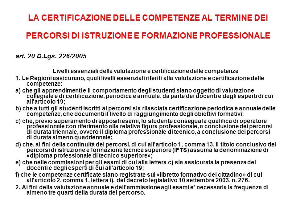 Livelli essenziali della valutazione e certificazione delle competenze