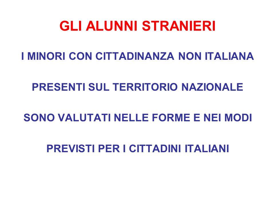 GLI ALUNNI STRANIERI I MINORI CON CITTADINANZA NON ITALIANA
