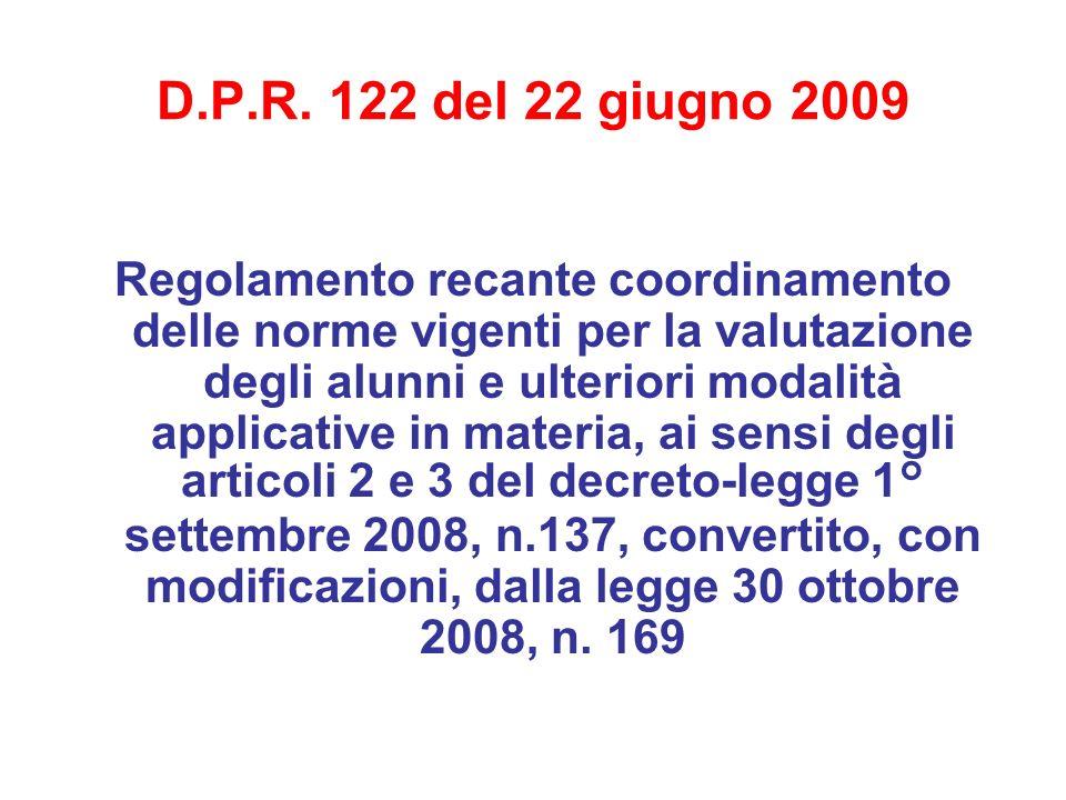 D.P.R. 122 del 22 giugno 2009