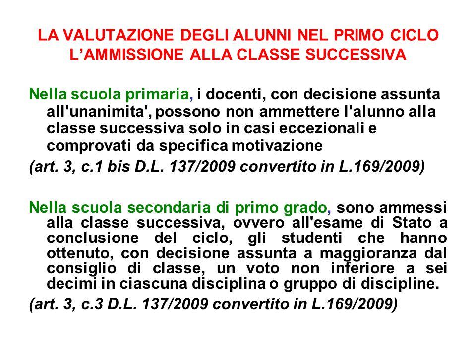 LA VALUTAZIONE DEGLI ALUNNI NEL PRIMO CICLO L'AMMISSIONE ALLA CLASSE SUCCESSIVA