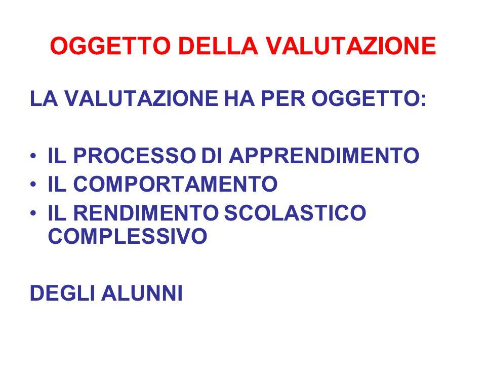 OGGETTO DELLA VALUTAZIONE