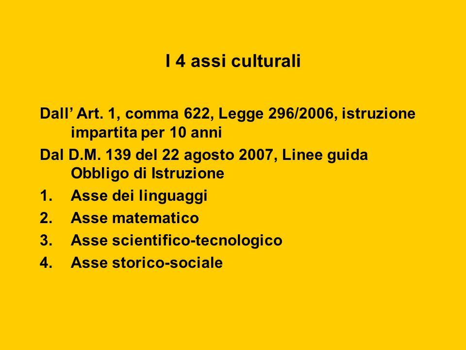 I 4 assi culturali Dall' Art. 1, comma 622, Legge 296/2006, istruzione impartita per 10 anni.