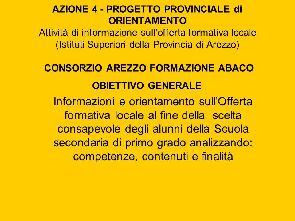 AZIONE 4 - PROGETTO PROVINCIALE di ORIENTAMENTO Attività di informazione sull'offerta formativa locale (Istituti Superiori della Provincia di Arezzo) CONSORZIO AREZZO FORMAZIONE ABACO