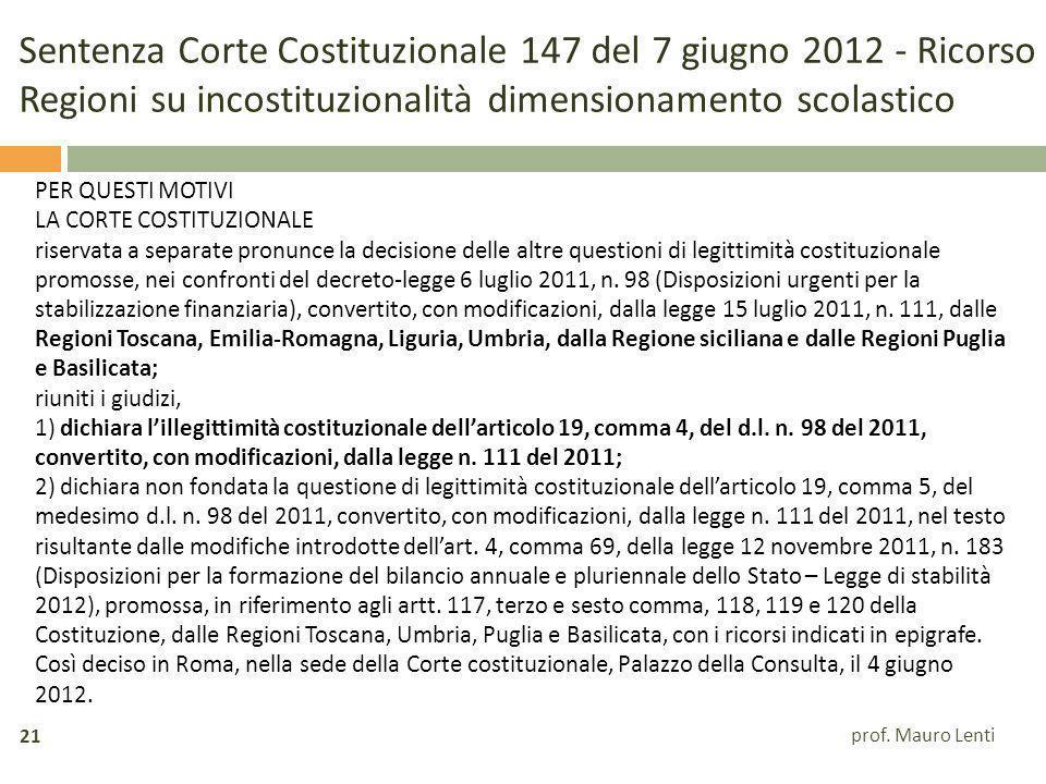 Sentenza Corte Costituzionale 147 del 7 giugno 2012 - Ricorso Regioni su incostituzionalità dimensionamento scolastico