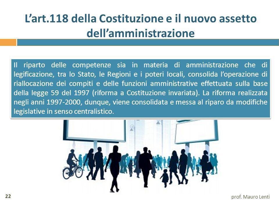 L'art.118 della Costituzione e il nuovo assetto dell'amministrazione