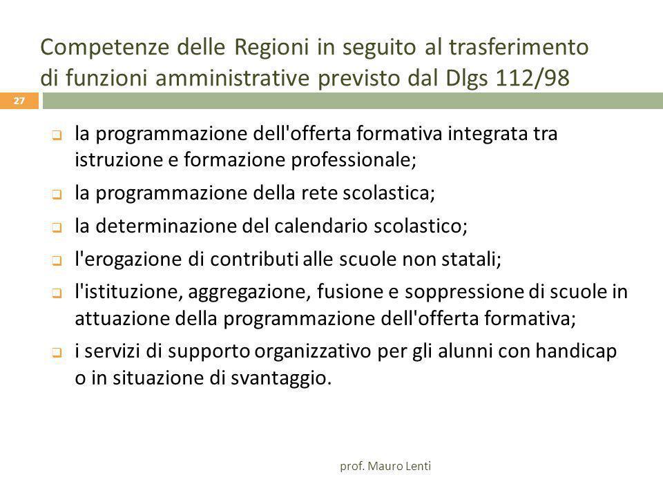 Competenze delle Regioni in seguito al trasferimento di funzioni amministrative previsto dal Dlgs 112/98