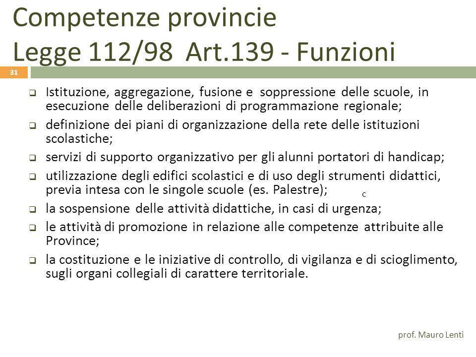 Competenze provincie Legge 112/98 Art.139 - Funzioni