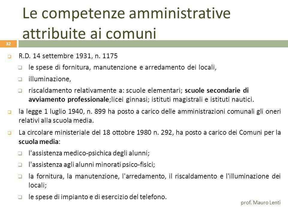 Le competenze amministrative attribuite ai comuni