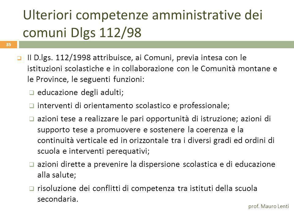 Ulteriori competenze amministrative dei comuni Dlgs 112/98