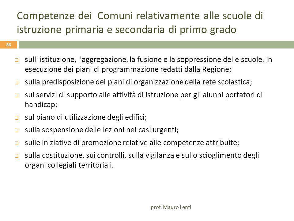 Competenze dei Comuni relativamente alle scuole di istruzione primaria e secondaria di primo grado