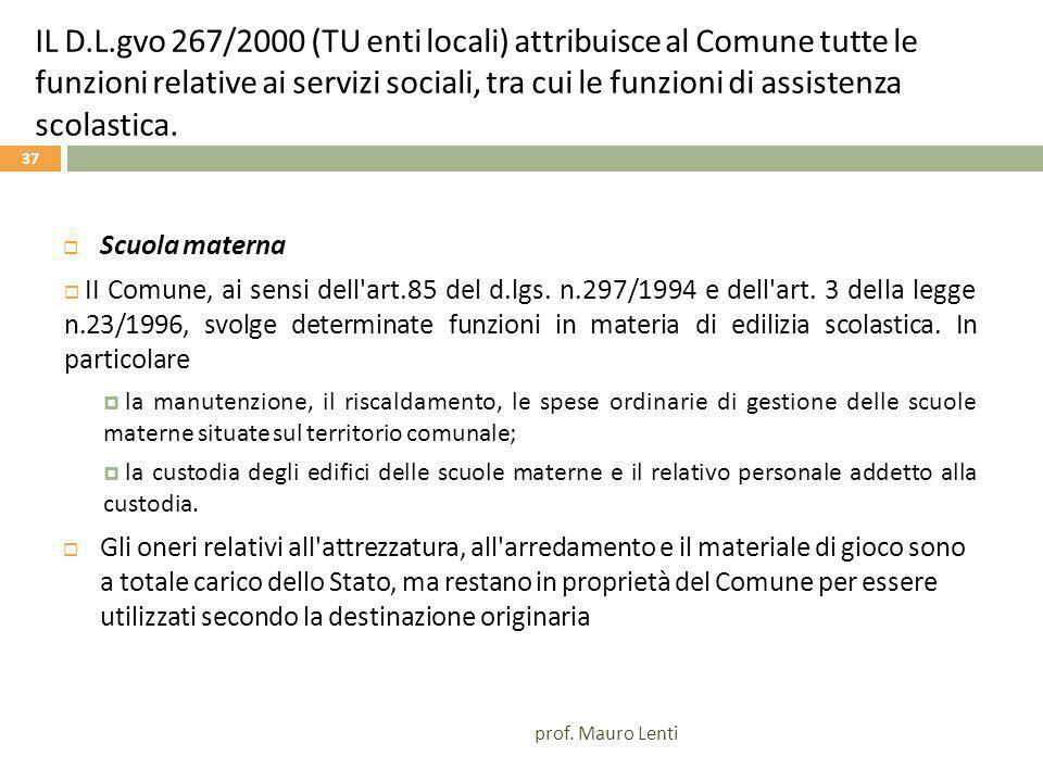 IL D.L.gvo 267/2000 (TU enti locali) attribuisce al Comune tutte le funzioni relative ai servizi sociali, tra cui le funzioni di assistenza scolastica.