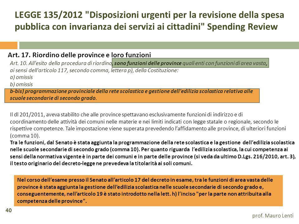 LEGGE 135/2012 Disposizioni urgenti per la revisione della spesa pubblica con invarianza dei servizi ai cittadini Spending Review