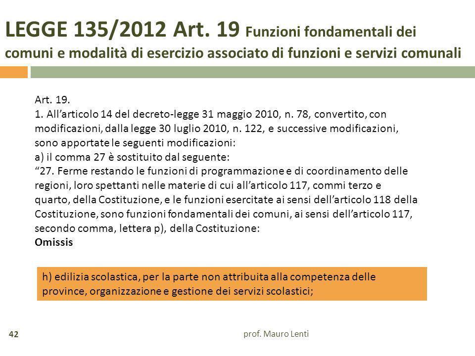 LEGGE 135/2012 Art. 19 Funzioni fondamentali dei comuni e modalità di esercizio associato di funzioni e servizi comunali