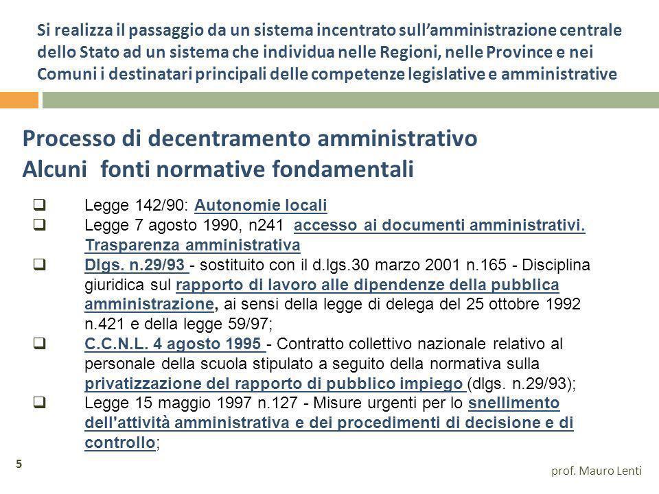 Processo di decentramento amministrativo