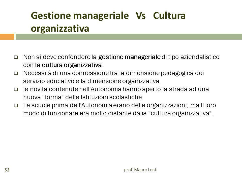 Gestione manageriale Vs Cultura organizzativa